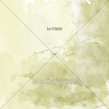 Olive Hand Drawn Watercolor Background, Vector Stock Photo
