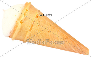 One Orange Sweet Cake In The Form Of Ice Cream. Isolated On White Background. Close-up. Studio Photography Stock Photo