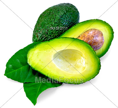 One Whole And One Cut In Half Avocado, Bone, Two Green Leaf Lemon Isolated On A White Background Stock Photo