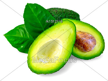 One Whole And One Cut In Half Avocado, Bone, Two Green Leaves Isolated On White Background Stock Photo