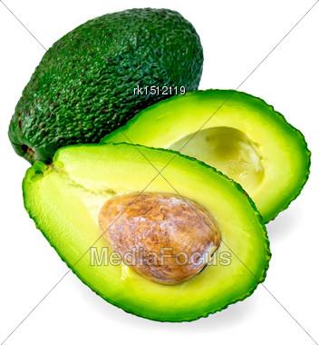 One Whole And One Cut In Half Avocado, Bone Isolated On White Background Stock Photo