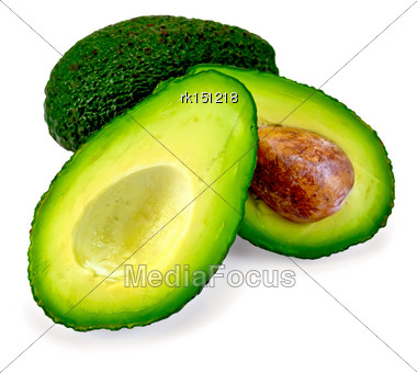 One Whole And One Cut In Half Avocado Isolated On White Background Stock Photo