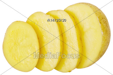 One Yellow Cut Into Slices Of Potato Isolated On White Background Stock Photo