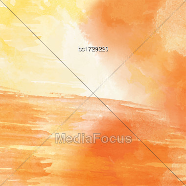 Orange Hand Drawn Watercolor Background, Vector Stock Photo