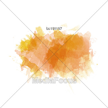 Orange And Yellow Watercolor Painted Stain Isolated On White Background, Vector Eps 10 Stock Photo