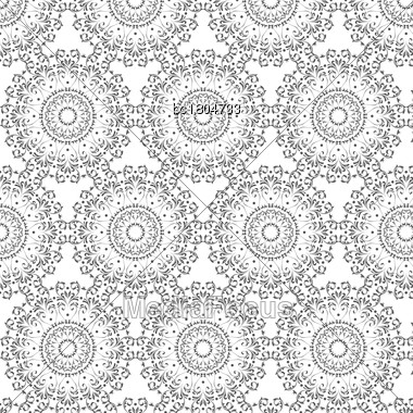 Oriental Vector Pattern With Round Arabesques Elements. Vintage Pattern With Arabesques Stock Photo