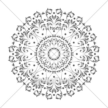 Oriental Vector Round Ornament With Arabesques Elements. Traditional Classic Ornament. Vintage Pattern With Arabesques Stock Photo