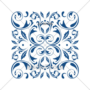 Oriental Vector Square Ornament With Arabesques Elements. Traditional Classic Ornament. Vintage Pattern With Arabesques Stock Photo