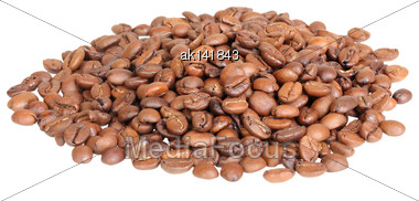 Pile Of Roasted Black Coffee Beans. Isolated On White Background. Close-up. Studio Photography Stock Photo