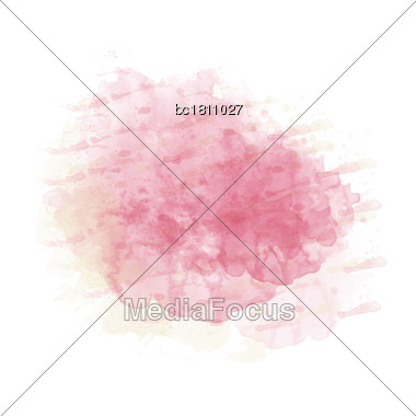 Pink And Yellow Watercolor Painted Stain Isolated On White Background, Vector Eps 10 Stock Photo