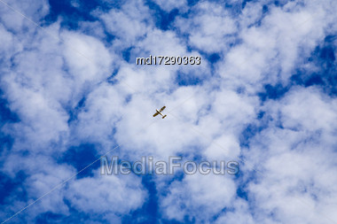 Plane Flying Sky Cloud Patterns White And Blue Stock Photo