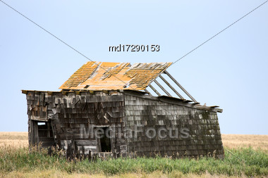 Prairie Barn Saskatchewan Summer Rural Scene Canada Stock Photo