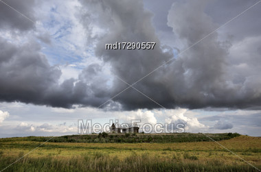 Prairie Scene Saskatchewan Summer Crop Harvest Canada Stock Photo