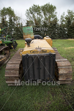 Prairie Scene Saskatchewan Summer Old Machinery Canada Stock Photo