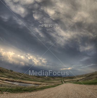 Prairie Storm Clouds Canada Saskatchewan Abandoned Buildings Stock Photo