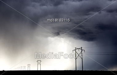 Prairie Storm Clouds Canada Saskatchewan Power Pole Stock Photo