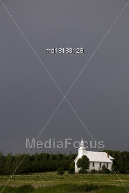 Prairie Storm Clouds Canada Saskatchewan Summer Country Church Stock Photo
