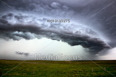 Prairie Storm Clouds Canada Saskatchewan Summer Warnings Stock Photo