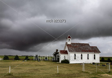 Prairie Storm Clouds Canada Summer Country Church Stock Photo