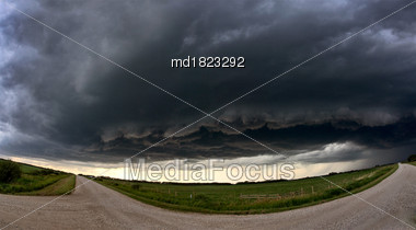 Prairie Storm Clouds Canada Summer Danger Rural Stock Photo