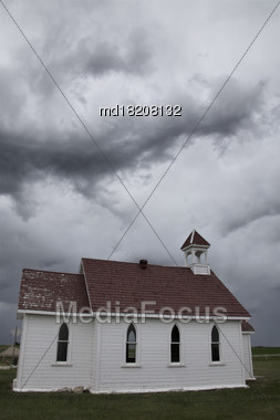 Prairie Storm Clouds In Saskatchewan Canada Country Church Stock Photo
