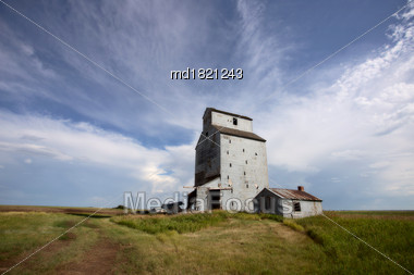 Prairie Storm Clouds Saskatchewan Canada Grain Elevator Stock Photo