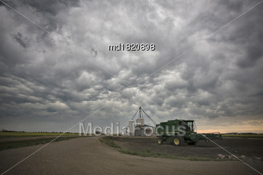 Prairie Storm Clouds In Saskatchewan Canada Mammatus Stock Photo