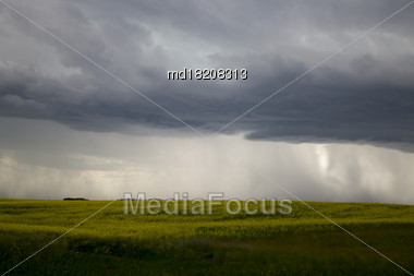 Prairie Storm Clouds In Saskatchewan Canada Rural Setting Stock Photo