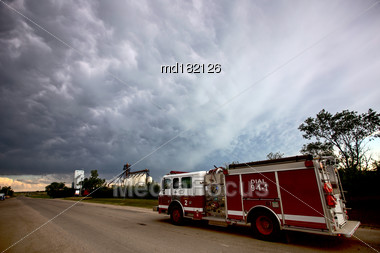 Prairie Storm Clouds Saskatchewan Canada SFire Truck Stock Photo