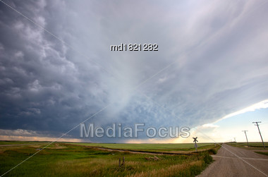 Prairie Storm Clouds Saskatchewan Canada Summer Danger Stock Photo