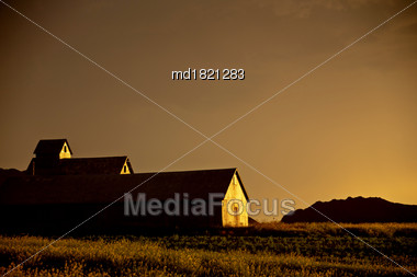 Prairie Storm Clouds Saskatchewan Canada Summer Sunset Stock Photo