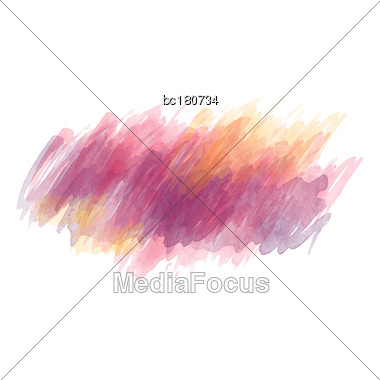 Purple And Yellow Watercolor Painted Vector Stain Isolated On White Background, Vector Eps10 Stock Photo