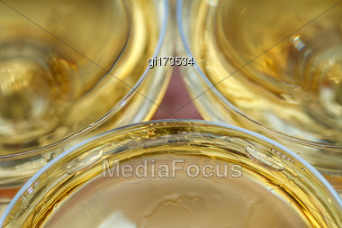 Pyramid Of Glasses With Champagne In The Blur. Celebration, Banquet Stock Photo
