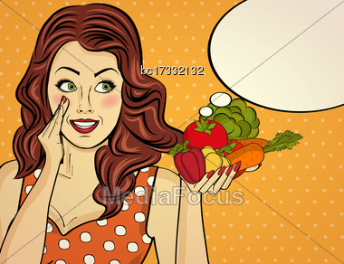 Red-haired Lady With Vegetable In Her Hands, Pop Art Woman Stock Photo