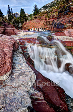 Red Rock Canyon Alberta Waterton National Park Stock Photo