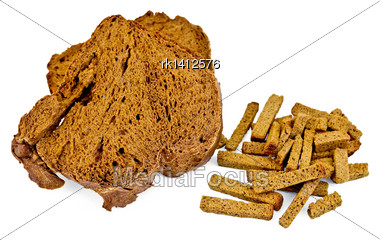 Rye Homemade Bread, Crackers Isolated On White Background Stock Photo