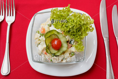 Salad With Crab Meat, Corn And Fresh Vegetables. View From Above Stock Photo
