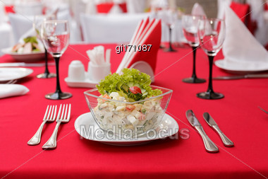 Salad With Crab Meat, Corn And Fresh Vegetables Stock Photo