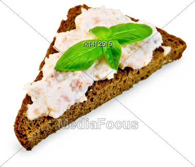 Sandwich On One Piece Of Rye Bread With Cream Of Salmon And Mayonnaise, Basil Isolated On White Background Stock Photo