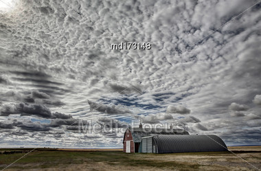 Saskatchewan Canada Landscape Rural Prairie Barn Stock Photo
