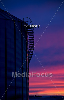 Saskatchewan Prairie Sunset Rrural Countryside Colorful Sky Stock Photo