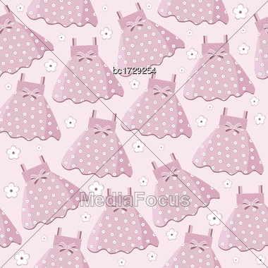 Seamless Pattern With Pink Baby Girl Dresses Stock Photo