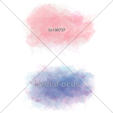 Set Of Color Vector Watercolor Stains, Eps10 Stock Photo