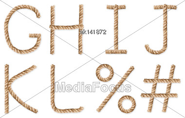 Set Of Latin Rope-characters. Placed On White Background. Close-up. Studio Photography Stock Photo