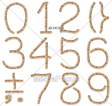 Set Of Rope-figures And Symbols. Placed On White Background. Close-up. Studio Photography Stock Photo
