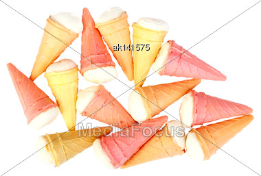 Several Multi-colored Sweet Cake In The Form Of Ice Cream. Isolated On White Background. Close-up. Studio Photography Stock Photo
