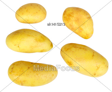 Several Yellow Raw Potatos. Isolated On White Background. Close-up. Studio Photography Stock Photo