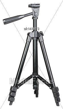 Single Black Phototripod. Isolated On White Background. Close-up. Studio Photography Stock Photo