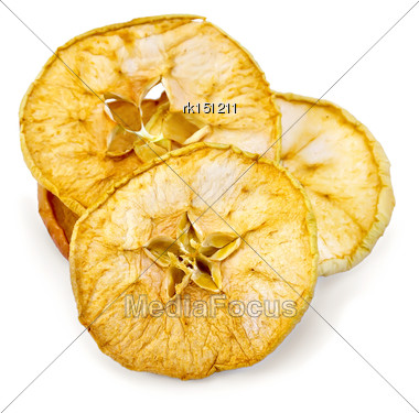 Slices Of Dried Apples Cored Isolated On White Background Stock Photo