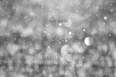 Snow Falling Close Up Winter Saskatchewan Canada Stock Photo